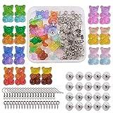 PandaHall 16 colgantes de resina con diseño de oso de gomita con 10 pares de pendientes y 20 pasadores de ojo de tornillo y 10 pares de ganchos para aretes para hacer manualidades.
