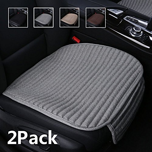 Suninbox Gray Car Seat Covers,2 Pack Buckwheat Hulls Bottom Seat Covers for Cars,Universal Leather Car Seat Cushion(2PC Gray Front Seat)