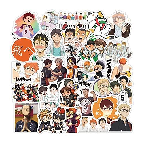 QBSMYXGS Anime Haikyu!! Adesivi in vinile impermeabili in PVC Decalcomania non duplicata per auto, bagagli, computer, decorazioni per la casa (50 pezzi)