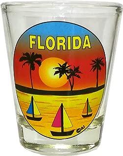 FLORIDA SOUVENIR SHOT GLASS. DISHWASHER & MICROWAVE SAFE GLASS. 12014