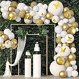 Globos De Cumpleaños Niña, HOUSTAR Kit de Guirnalda de Globos de Oro Blanco, Arco para Globos de Látex con Cinta de Globos para Decoracion Cumpleaños Niñas