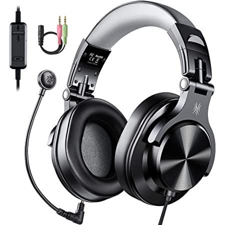 OneOdio Computer Headsets with Microphone - PC Headphones with Boom Mic for Gaming Wired Over Ear Headset with in-Line Control Volume Mute for Mac Laptop Office Zoom Conference