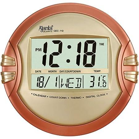 Ajanta Quartz Digital Round Wall - Table Clock (26.5 cm X 26.5 cm, Golden, ODC-110)