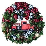Corona de Navidad, decoración de Navidad con coche rojo, guirnalda de Navidad para puerta frontal exterior, ideal para decoración de tiendas, oficinas, árbol de Navidad, 30 cm