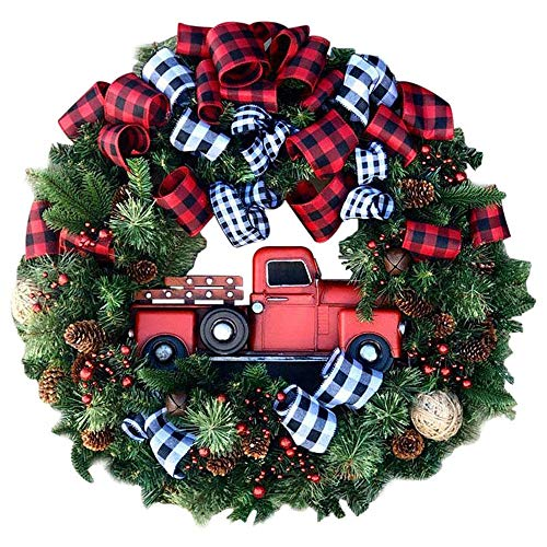 Christmas Wreath, Front Door Decoration Wreath Red Truck Berry Wreath Pre-lit Hanging Artificial Christmas Garland for Home Wedding Party Window Outdoor Indoor Decoration