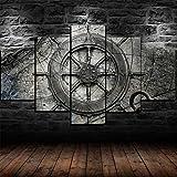 cuadros en lienzo decoracion dormitorios Hogar - Cuadros Decoracion Salon,cuadros en lienzo 5 piezas Rueda de barco de collage náutico vintage cuadros en lienzo 5 piezas de arte de pared decoracion