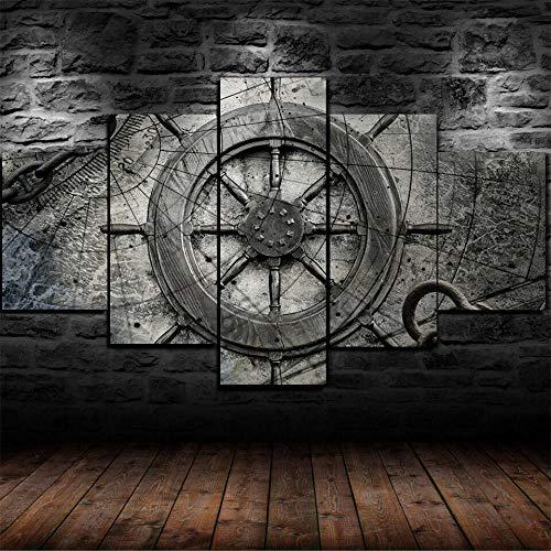 AWER Cuadro en Lienzo 5 Pieza impresión Lienzo artística Pintura Diseño Cuadro Moderno Pared gráfica Rueda de barco de collage náutico vintage arte de pared para el hogar decoración Enmarcado