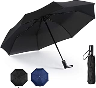 Compact Travel Umbrella Windproof Auto Open Close Folding Umbrella - Portable Lightweight Umbrella for Women and Men, Easy Touch, Black