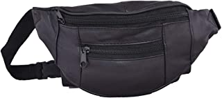 Liberty Leather - Black - Genuine Sheep Nappa Leather Kids Size Waist Bag   Small Multi-Pocket Fanny Pack for Outdoor Use ...