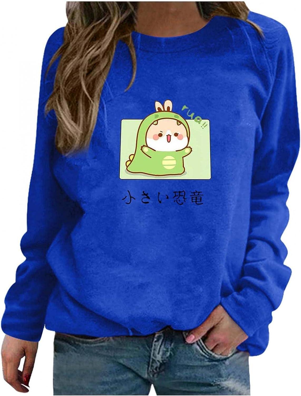 Toeava Long Sleeve Shirts for Women Casual Graphic Tee Shirts Crew Neck Sweatshirts Pullover Cute Dinosaur Tunic Tops