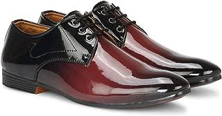 LONDON SOLE Dual-Tone Oxford Shining Shoes for Men Boys for Men (9, Maroon)