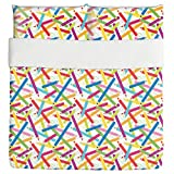 Colored Pencils布団ベッドセット3点セット羽毛布団カバー–2ピロー–高級マイクロファイバー ソフト 通気性 キング duvetsetpd3871 kidc