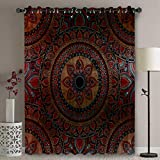 Blackout Patio Door Curtain Panel - 96 Inch Long Grommet Top Thermal Insulated Bedroom Darkening Curtain - Ombre Mandala Old Ethnic Art / Mehndi Style Boho Design Curtains for Sliding Glass Door