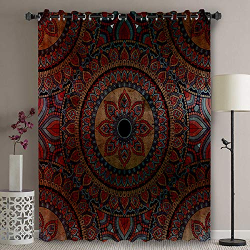 Blackout Patio Door Curtain Panel - 63 Inch Long Grommet Top Thermal Insulated Bedroom Darkening Curtain - Ombre Mandala Old Ethnic Art / Mehndi Style Boho Design Curtains for Sliding Glass Door