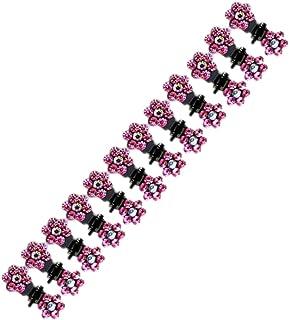 Semoic 12個キラキラミニヘアクリップヘアピン花女性女の子用のヘアアクセサリー(ピンク)
