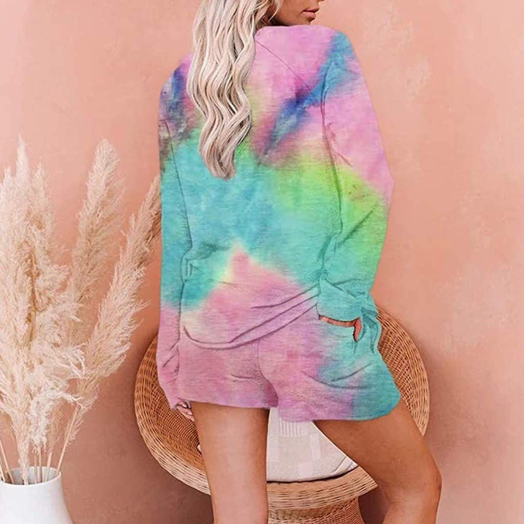 iLOOSKR Fashion Tie-Dye Leopard Home Suit Women Comfy Long Sleeve Tops and Shorts Sets Casual Sleepwear Suit