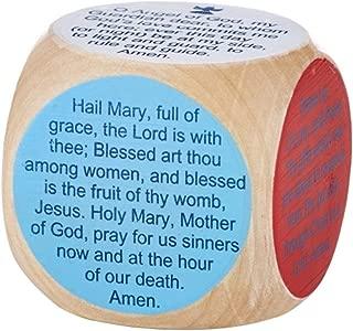 Prayer Cubes Wooden Children's with 6 Catholic Prayers, 1 5/8 Inch