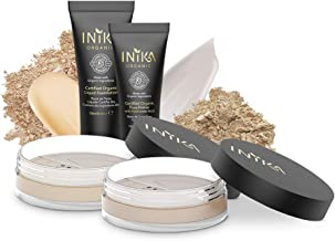 INIKA Trial Pack, All Natural Make-up Discovery Kit – 2 Mineral Foundation SPF25 (2 x 0.7 g), Certified Organic Liquid Foundation 4 ml, Certified Organic Pure Primer 4 ml (Light/Medium)