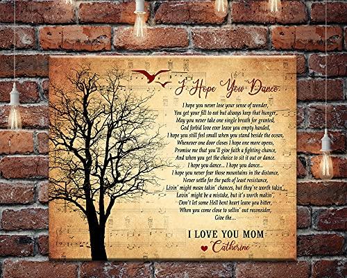 DKISEE Letra de canción personalizada Canvas, I Hope You Dance Letras de canción Arte de pared, Canciones personalizadas en lienzo