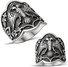 mysilverworld Solid 925 Sterling Silver Double Headed Eagle Dirilis Ertugrul Archer Thumb Men's Ring