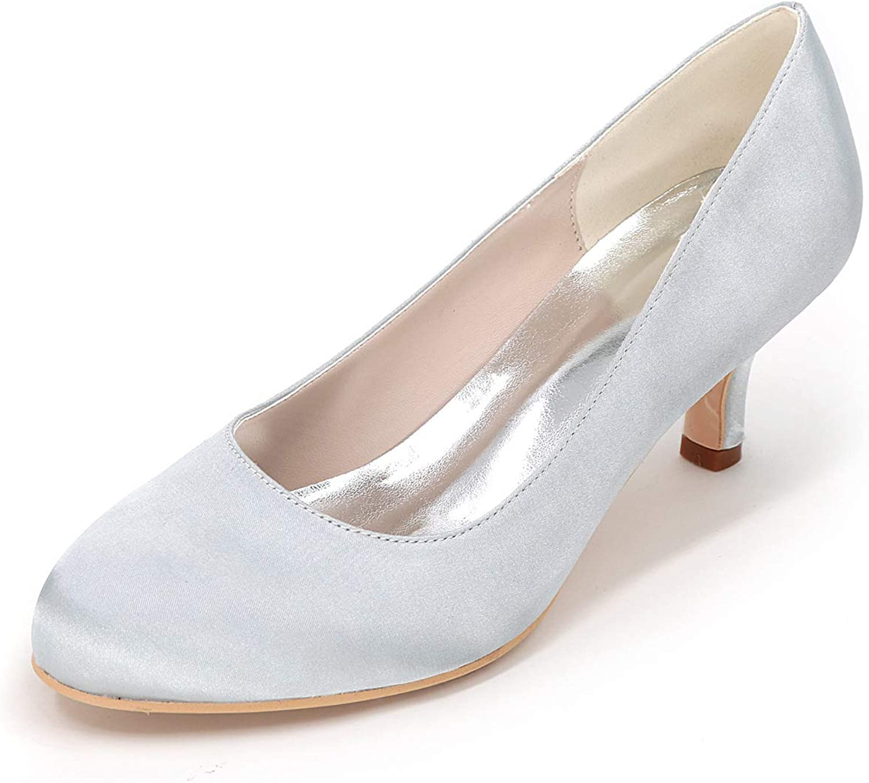 LLBubble Women Kitten Heels Round Toe Wedding shoes Satin Bridal Pumps Formal Party Dress shoes 1195-01