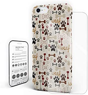Cartoon Dog Paw Print and Bones Phone Case Protective Design Durable Hard PC Back Phone Cover with Tempered Glass Screen Protector Compatible for iPhone 7/iPhone 8