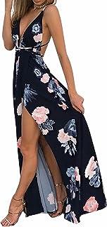 Women's Sexy Deep V Neck Backless Floral Print Split Maxi Party Dress