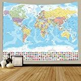 TOMOZ World Map Tapestry Wall Hanging for Kids Student, World Map with Detailed Major and Cities National Flag Tapestry Educational Tapestry for Bedroom Living Room Dorm Home Decoration 80 x 60Inch