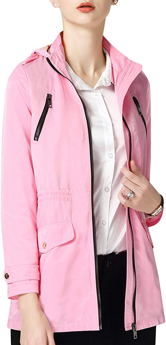 Uaneo Women's Hooded Long Sleeves Lightweight Jacket Trench Coat (Large, Pink)