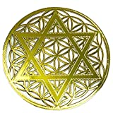RELIGHT 六芒星 フラワーオブライフ 金属製 ステッカー シール 金色 (7.5cm(1枚))