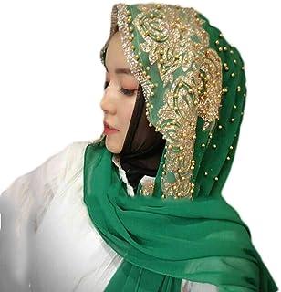 kaaka Accessory Fashion Women Bead Decor Islam Muslim Ramadan Hijab Wrap Shawl Scarf Green