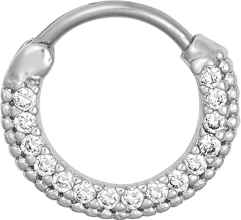 Forbidden Body Jewelry 16g Septum Ring Clicker: 16 Gauge 7/16 Inch Surgical Steel Framed CZ Crystal Pave Hoop Clicker Ring