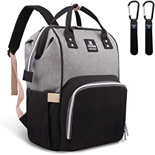 Hafmall Diaper Bag Backpack – Waterproof Multifunctional Large Travel Nappy Bag (Gray Black)