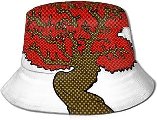DCVFB Gorra de Pesca de Pescador Unisex al Aire Libre, Comic Cartoon Big Red Old Tree Vector Summer Fishing Trip Sun Packable Fisherman Cap Sun Hat Bucket Hat, para Pesca, Safari, Playa y navegación