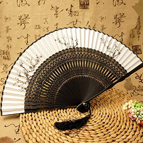 XKMY Abanicos de mano plegables de bambú para mujer de seda negra Leques Japoneses, abanico personalizado de decoración de boda (color: flor de ciruelo, tamaño del abanico: 8 pulgadas)