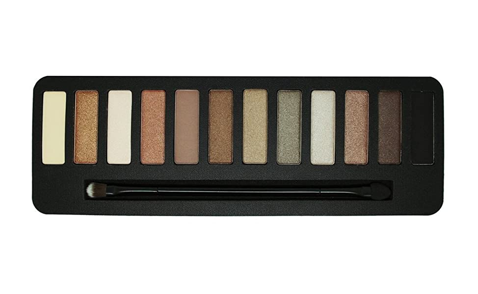 W7 - 'In the Buff' Natural Nudes Eyeshadow Color Palette - 12 Natural and Striking Complimentary Brown and Nude Shades
