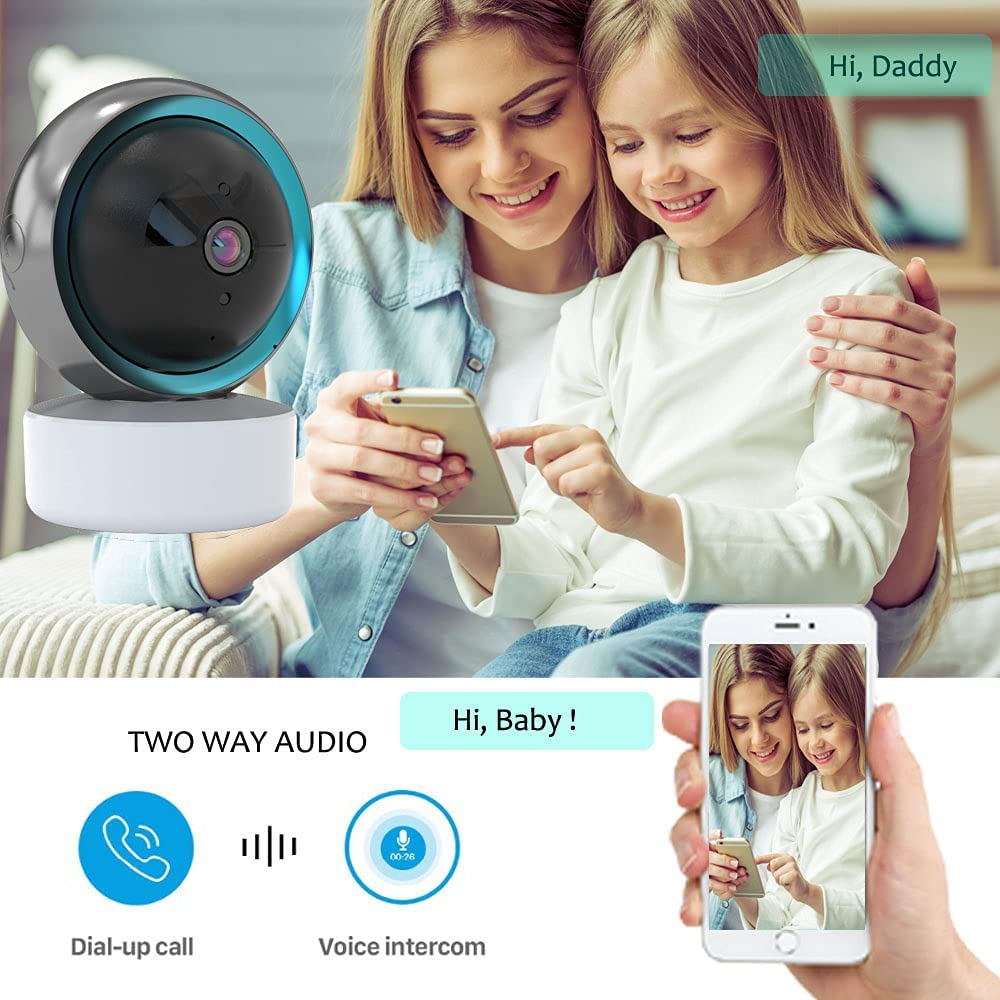 [2021 New] Indoor Camera, 1080 Pan/Tilt Plug-in Smart Security Camera with Night Vision, Two-Way Audio, Motion Detector, Cloud & Local Storage, Wi-Fi Home Camera Works with Alexa & Google Assistant