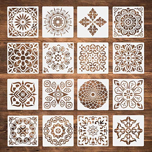 Plantillas de Mandala, ZWOOS 16 Piezas Reutilizable Plantillas de Mandala Pintura Conjunto De Plantillas Decorativa,Plantilla de Pintura para Pintar Scrapbook Arte De Pared (15x15cm,Blanco)