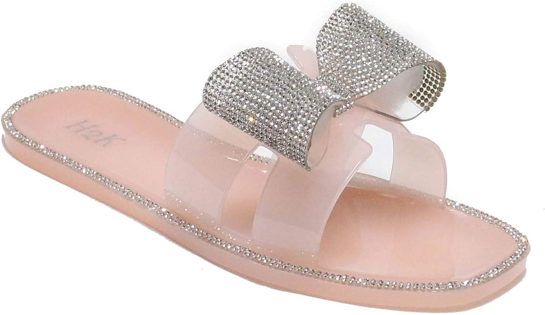 Women's Glitter Ribbon Open Toe Bling Jewel Stone Slide Comfort