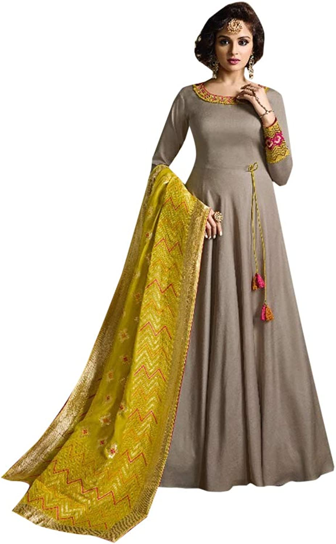 Grey Indian Ethnic Designer Tussor Silk Semistitched Anarkali Suit Women Muslim Evening dress Bespoke 7813