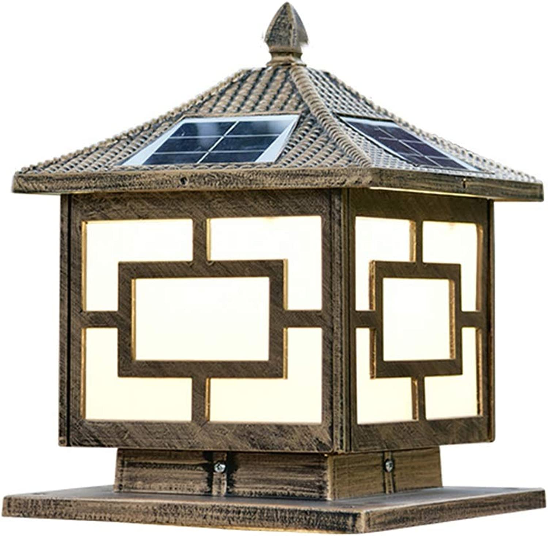 Night Lights Column Lamp Solar Column Head Light LED Home Outdoor Door Column Lamp Outdoor Courtyard Villa Garden Column Head Lamp (color   gold, Size   30  35cm)