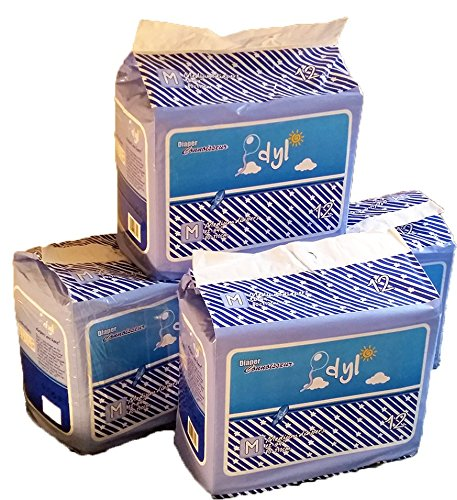 48 Diapers - DC Idyl - Medium/Large - All Blue Theme! Plastic-Backed Adult Baby (Large)