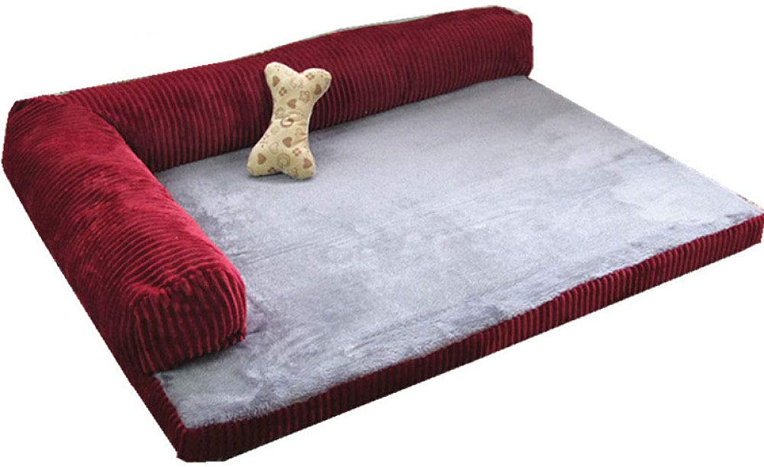 JXJL Pet Dog Bed   Orthopedic Ultra Plush SofaStyle Couch Pet Bed For Dogs Cats, Espresso, Large,RedS