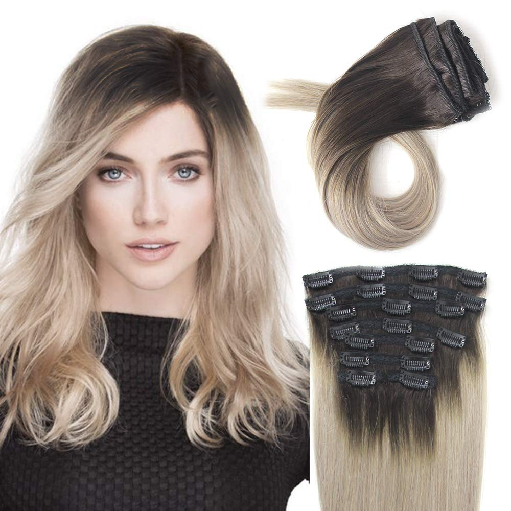 New color Delightful Max 68% OFF Clip in Hair Extensions Natural Human Chocolate