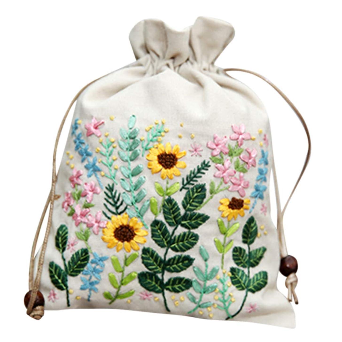 強調後継一方、巾着袋 女の子 化粧品ポーチ 財布 小物入れ 旅行 クロスステッチキット DIY 全4色 - ベージュ