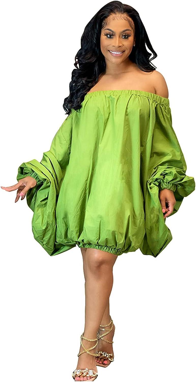 OLUOLIN Women Plus Size Off Shoulder Short Dress Long Sleeve Loose Big Swing Shift Mini Lantern Dresses