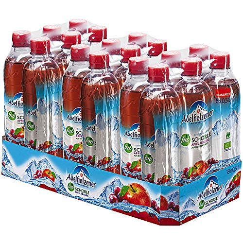 Adelholzener Bio Schorle Apfel Traube, 18er Pack, 18 x 0,5 l EINWEG
