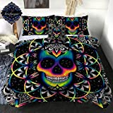 Chaos by Brizbazaar Neon Skull Comforter Set Colorful Galaxy Skull Reversible Bedding with Comforter 3D Design 4 Pieces Boys Bed Sets with 2 Pillow Shams and 1 Cushion Cover (Full Size)