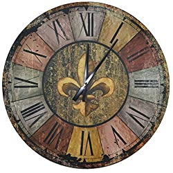 Lulu Decor, Vintage French Country Style Rustic Round Wood Wall Clock 23.50, Large Roman Numerals (Vintage)