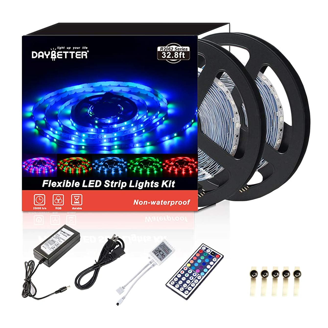Led Strip Lights 32.8ft 10m 600LEDs Non-waterproof Flexible Color Changing RGB SMD 3528 LED Strip Light Kit with 44 Keys IR Remote Controller and 12V Power Supply
